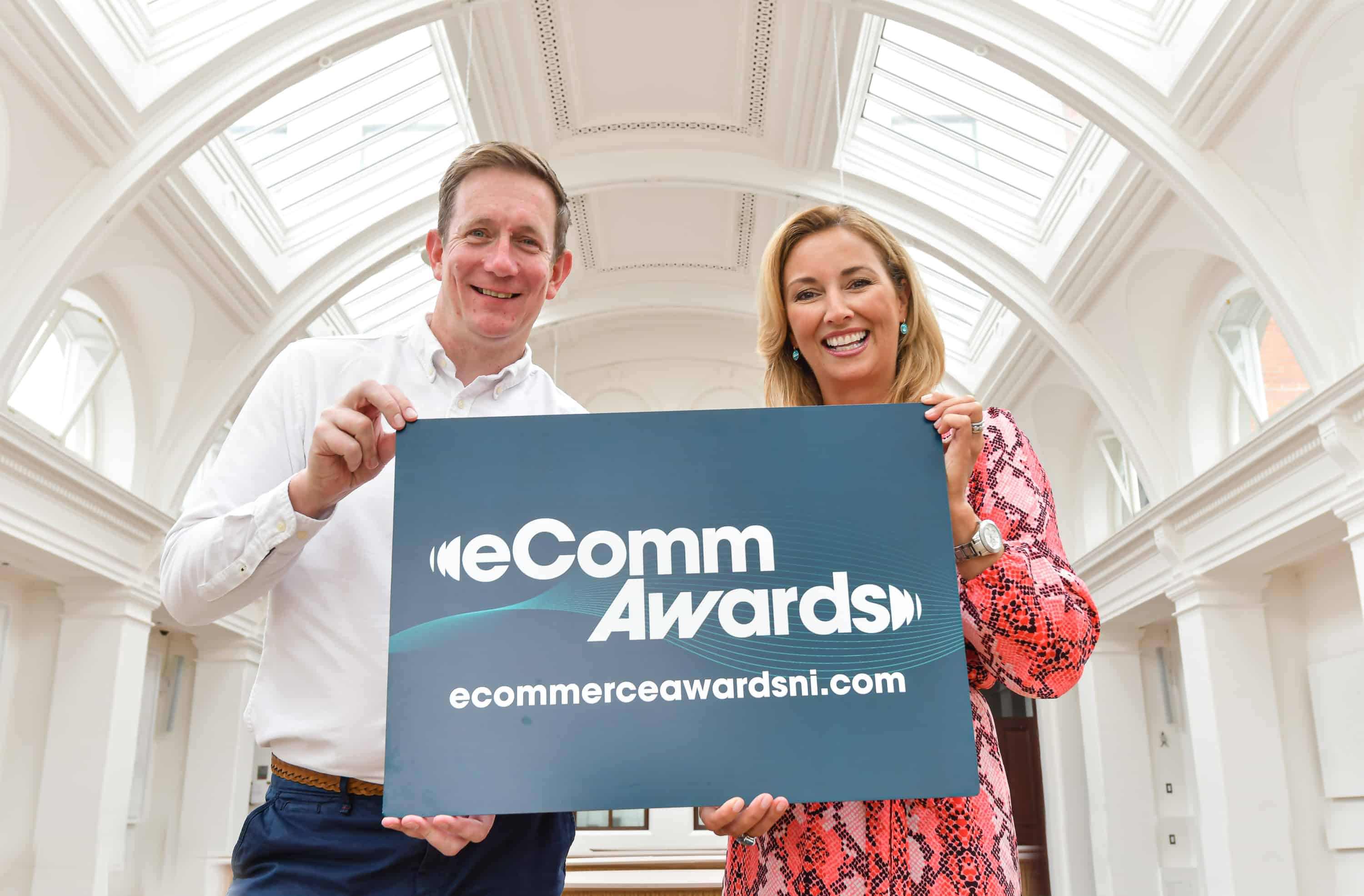 Kevin Traynor from eCommerce Awards NI & Claire McCollum host of eCommerce Awards